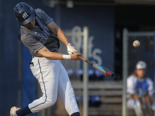Maclay senior catcher Matt Caballero connects for the