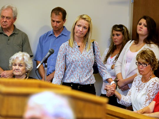 Family and friends of James 'Austin' Hancock react to the sentencing by Butler County Common Pleas Judge Ronald Craft.
