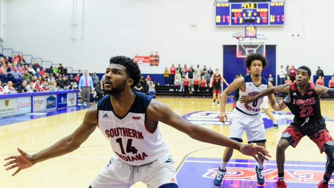 USI freshman Emmanuel Little notched his second 20-point game of his college career during Saturday's win over Quincy. FILE PHOTO.