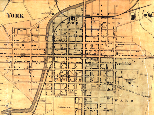 Detail from the 1860 Shearer & Lake Map of York County, Pa.