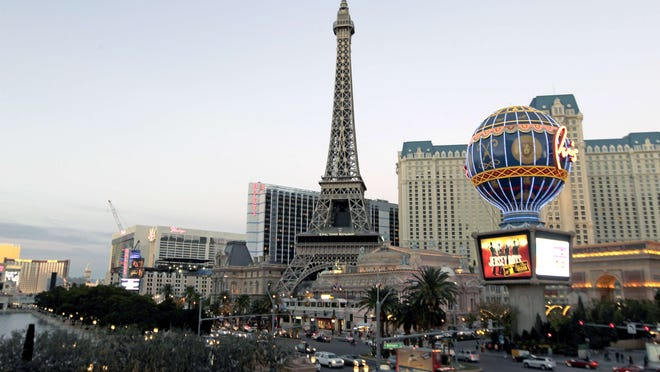 A view taken on December 6, 2013 shows Paris Las Vegas, a hotel and casino located on the Las Vegas Strip in Las Vegas. The main operating unit of troubled US casino giant Caesars Entertainment — owners of the famed Caesars Palace in Las Vegas — said on January 14, 2015, it was filing for Chapter 11 bankruptcy protection.