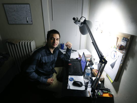 University of Rochester student Iyad Sayed Issa from Aleppo, Syria, in his apartment in Rochester.  Sayed Issa left Aleppo to study in the United States because it was becoming too dangerous to study in his homeland of Syria. But now he has to worry that if he leaves the United States, he won't be allowed to return because of President Donald Trump's executive order.