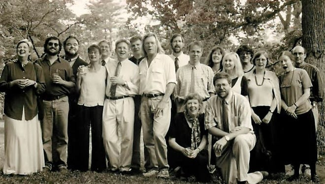 Faculty members in 1997 were Ellen Bryant Voigt, Ehud Havazalet, Wilton Barnhardt, Joan Silber, Alan Williamson, CJ Hribal, Michael Ryan, Thomas Lux, Judith Grossman, Kevin McIlvoy, Chuck Wachtel, Joan Aleshire, Renate Wood, Steve Orlen, Tom Andrews.   Kneeling: Eleanor Wilner and Peter Turchi.