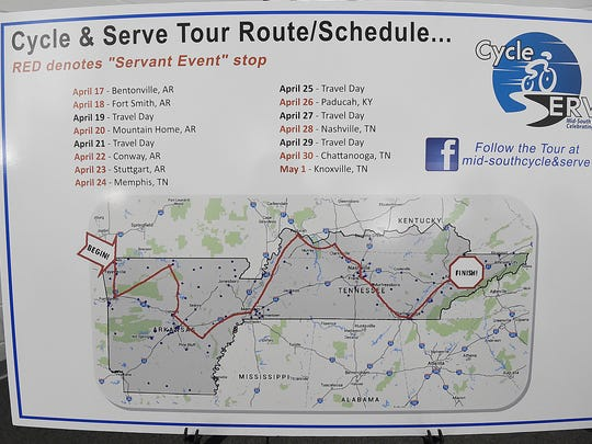 The route pastor Bill Ondracka is set to take on his 14-day Cycle and Serve Tour through Arkansas, Kentucky and Tennessee.