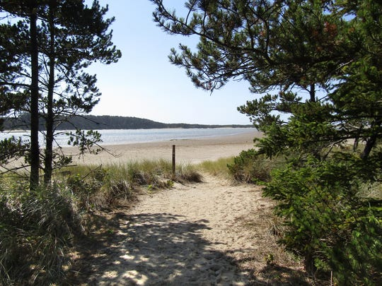 Beach access is seen on the Whalen Island loop trail.
