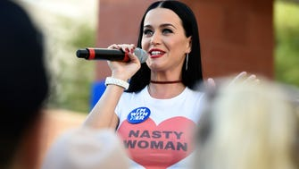 """Nice shirt, Katy! She wore a """"nasty woman"""" tee while stumping for Hillary Clinton in Nevada."""