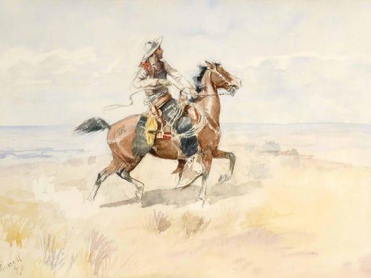 """Cowboy on a Bay Horse"" (c. 1895, watercolor, 13 3/4"