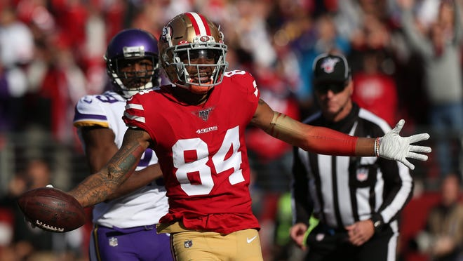 Jan 11, 2020; Santa Clara, California, USA; San Francisco 49ers wide receiver Kendrick Bourne (84) reacts after catching a touchdown pass against the Minnesota Vikings in the first quarter in a NFC Divisional Round playoff football game at Levi's Stadium. Mandatory Credit: Cary Edmondson-USA TODAY Sports