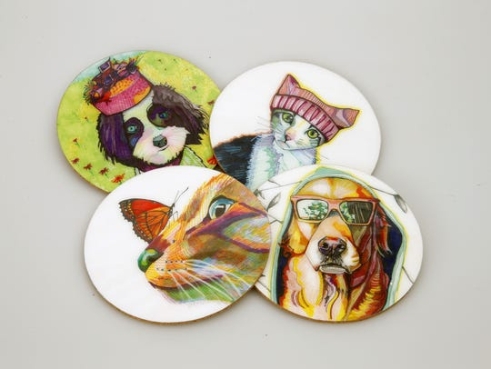 Animal art coasters at Fly By pop-up shop at Schoen Place.