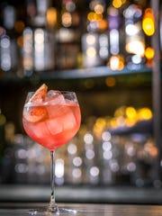 This rosé spritz is made with Martini & Rossi Riserva