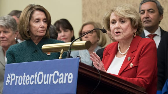 Rep. Louise Slaughter speaks beside House Minority Leader Nancy Pelosi at a news conference on Capitol Hill on Jan. 5, 2017.