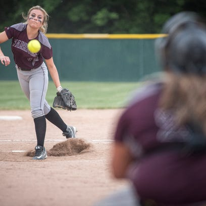 Wes-Del's Maddie Richards sends one across the plate