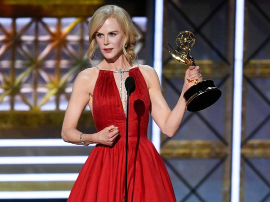 Sep 17, 2017; Los Angeles, CA, USA; Nicole Kidman accepts the award for lead actress in a limited  series or  a  movie for her role in Big Little Lies during the 69th Emmy Awards at the Microsoft Theater. Mandatory Credit: Robert Hanashiro-USA TODAY ORG XMIT: USATSI-363643 ORIG FILE ID:  20170917_sal_usa_6734.JPG