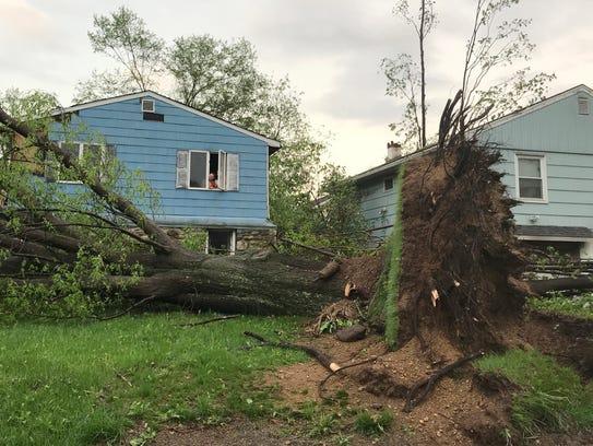 Storm damage along Lake Shore Drive in Lake Carmel.