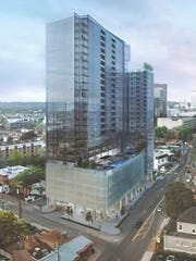 Rendering of the mixed-use project Land Development.com plans for the corner of Broadway and 20th Avenue South.