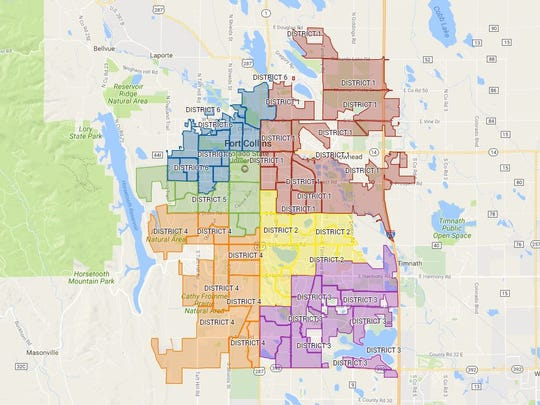 Fort Collins is divided into six City Council districts.