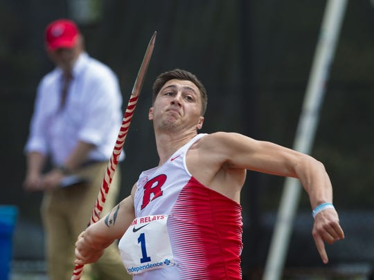 Rutgers Chris Mirabelli competes in the college men's javelin on  at  the Penn Relays in Philadelphia on April 29.