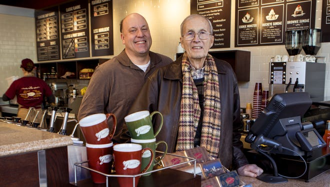 Dick Graeter (right) and Richard Graeter, president and CEO of Graeter's, show off their new location in Over-The-Rhine on Dec. 31, 2013.