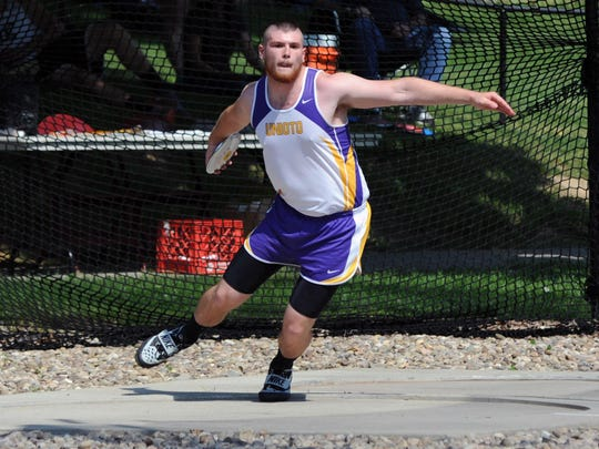 "Unioto's Trevor Detillion competes in the discus throw during the Division II Regional Track and Field Tournament at Muskingum University in New Concord. Detillion, Zane Trace's Walt Petzel and Adena's Ethan Hurtt have founded the ""Appalachian Throwing Club."""