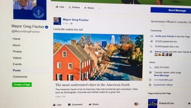 Mayor Fischer's Facebook page thanks CNN for nice article about the city