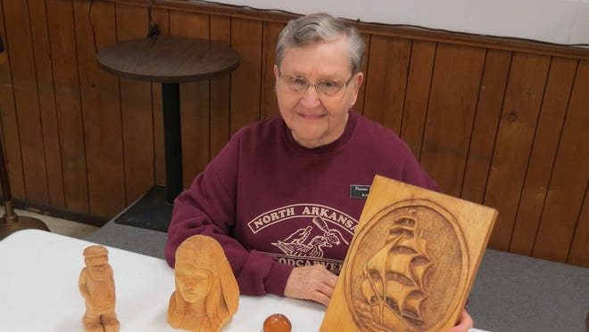 The North Arkansas Woodcarver Club is featuring carver and instructorNaomi Inglett. She started carving in 1991 joining the NAWC. Picking up her talents from various carvers she can pass on her skills to woodcarvers interested in learning wood carving. Relief carving is one of her favorite style of carving.