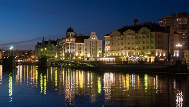 A view of buildings along the river in Kaliningrad during the World Cup.