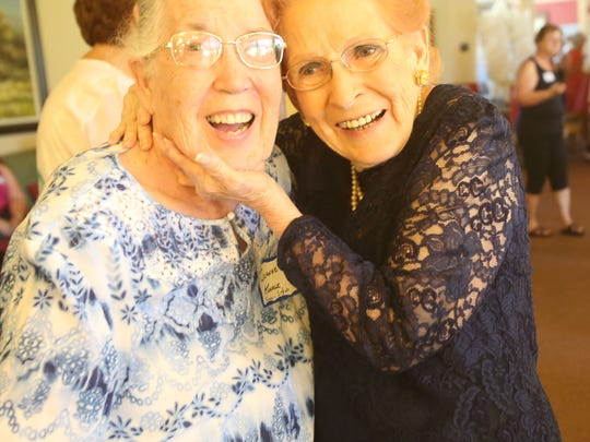 Long lost sisters. At left, Joanne Kunkle met her sister Fran Gonsalves, 90 on Thursday. They both did not know of each other as their biological father left Gonsalves and her family when she was only 3 years old.