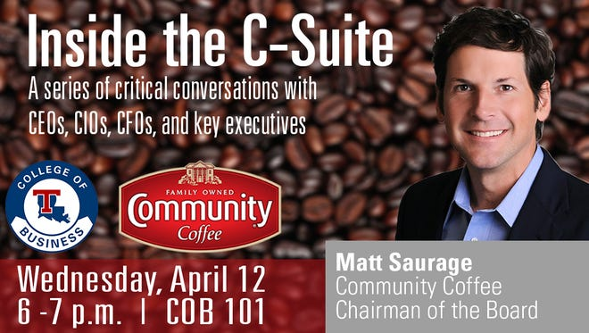 The College of Business at Louisiana Tech University welcomes Matt Saurage, chairman of the board for Community Coffee.