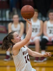 Webster County's Jamie Winstead (14) shoots a runner