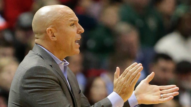 Bucks coach Jason Kidd encourages his his team during a game against the Charlotte Hornets on Dec. 22 at the BMO Harris Bradley Center.