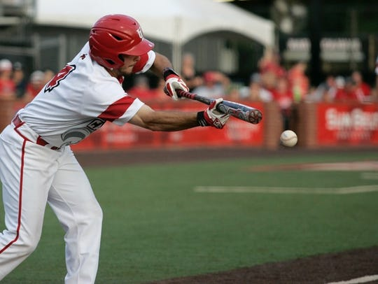 UL's Blake Trahan gets a bunt down during the Cajuns'