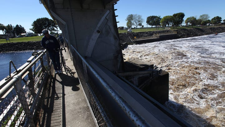 Chocolate-colored waters gushed through locks along the Caloosahatchee River Friday after the federal government maximized releases from Lake Okeechobee.