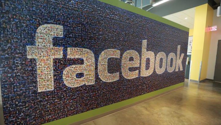 Facebook logo inside the company's data center in Altoona, Iowa.