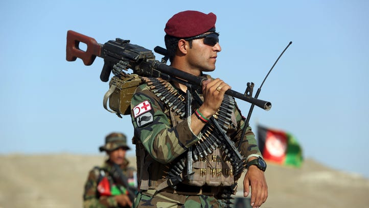 Afghan National Army soldiers outside Kabul.