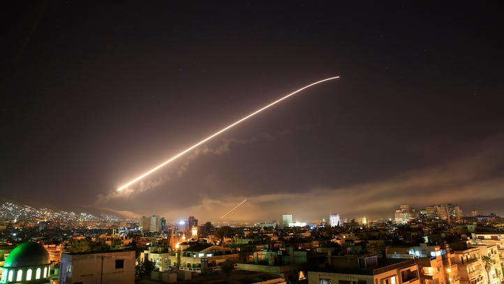 Missile fire lit up the Damascus sky last week  as