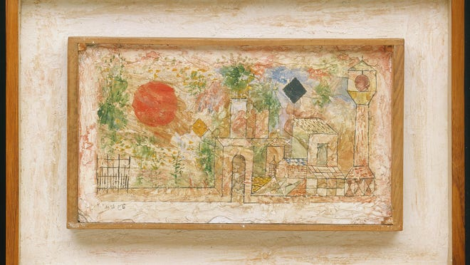 """Among the works of art that A. Alfred Taubman donated to the Detroit Institute of Arts is """"Small Landscape with Garden Door"""" by Paul Klee, a painting in oil on plaster made in 1928."""