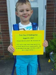 On his first day of kindergarten at Stringtown Elementary,