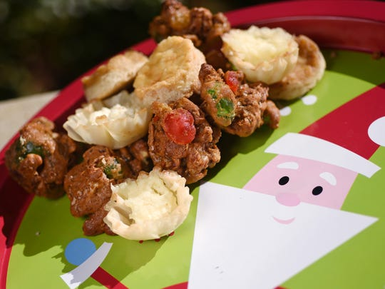 Fruitcake cookies and onion tarts are bite-sized options for holiday parties.