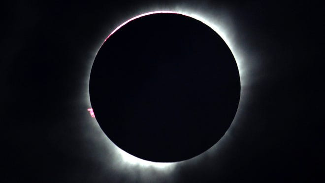 A total solar eclipse is seen in Ternate, Maluku Islands, Indonesia, on March 9.