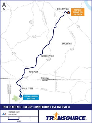 This map shows the proposed route for a 16-mile leg of an above-ground power line Transource Energy has proposed that would run through southern York County.