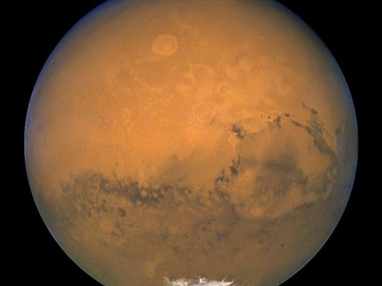 Image of Mars taken by the Hubble Space Telescope in 2003