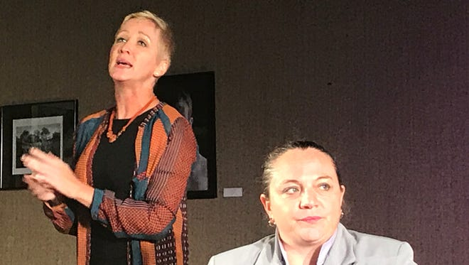 """Veronica Nicol Maurer, left, shares her views on education as Annette, Wendy Brown, listens during rehearsal of """"God of Carnage."""""""