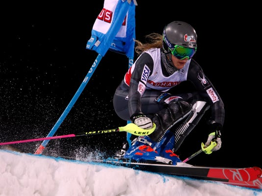 United States' Resi Stiegler competes during the alpine ski, women's World Cup city event in Stockholm, Tuesday, Jan. 30, 2018. (AP Photo/Gabriele Facciotti)