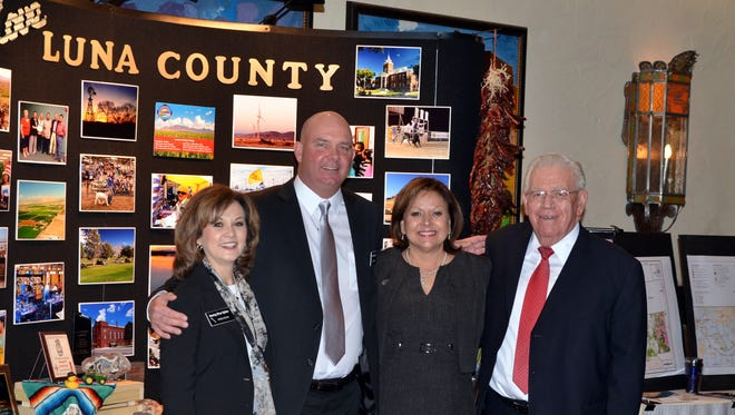 Luna County officials joined the Silver Spikes delegation to Santa Fe on Feb. 9. Pictured, from left, is Silver Spikes President Teresa Molina, Luna County Manager Ira Pearson, Governor Susana Martinez and Senator John Arthur Smith. The county, City of Deming, Western New Mexico University-Deming, Mimbres Memorial Hospital and the SunZia Transmission Line project were represented at the event. The Silver Spikes, a group of local government officials, business persons and community members, visits the capitol annually to promote projects and legislation that will benefit Deming and Luna County.