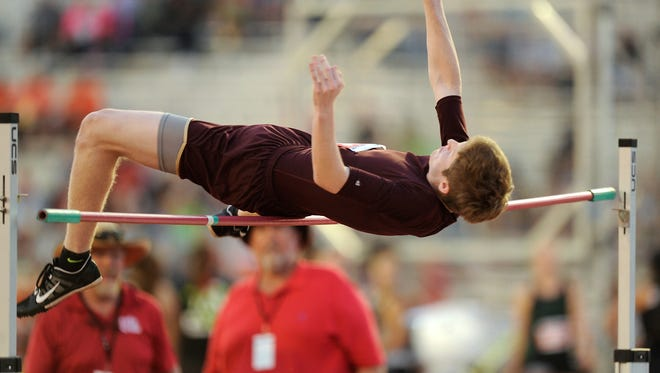 Forestburg's Styler Sandusky attempts to clear the bar in the Class 1A boys high jump during the UIL state track and field championships on Thursday, May 11, 2017, at Mike A. Myers Stadium in Austin. Sandusky finished third in the event with a jump of 6-0.