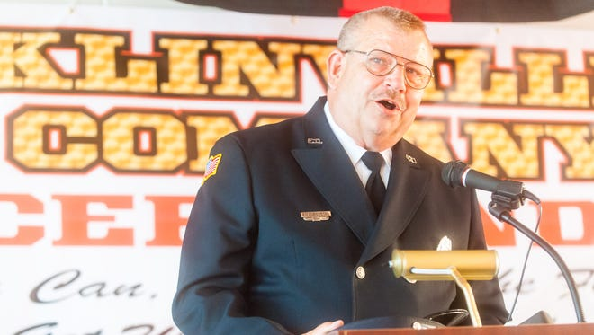 Franklinville Fire Company President Richard Kurczeski speaks during the introduction of the Franklinville Fire Company Cancer Fund at Franklinville Volunteer Fire Co. No. 1.