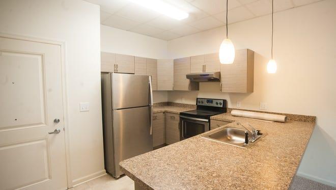 Kitchens in Landis Square Senior Apartment units include dishwashers.