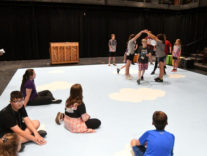 Campers practice for their upcoming play during the