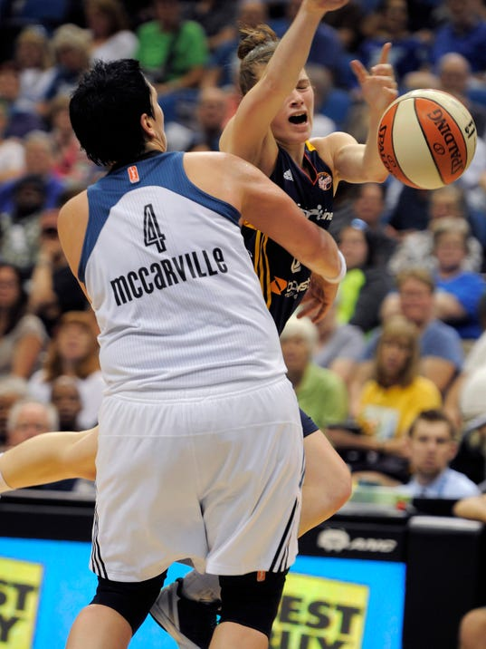 Minnesota Lynx center Janel McCarville, left, grabs Indiana Fever guard Maggie Lucas, as Lucas attempted a fast break during the second quarter of a WNBA basketball game Sunday, June 22, 2014, in Minneapolis. (AP Photo/Tom Olmscheid)