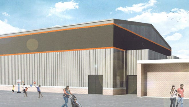 As it stands, the exterior of the Iowa Valley Elementary School gymnasium. Work is on track to have construction on the $3.5 million facility started by October.